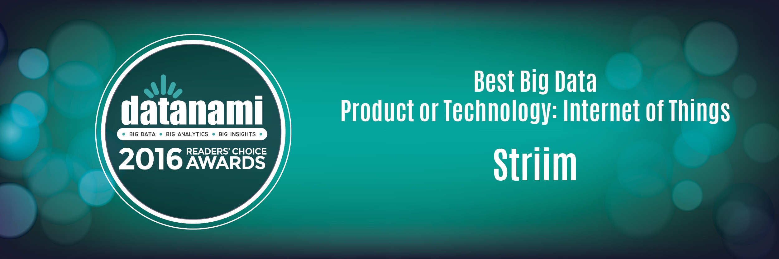 Striim Wins Datanami Readers' Choice Award for Best Big Data Product or Technology: Internet of Things